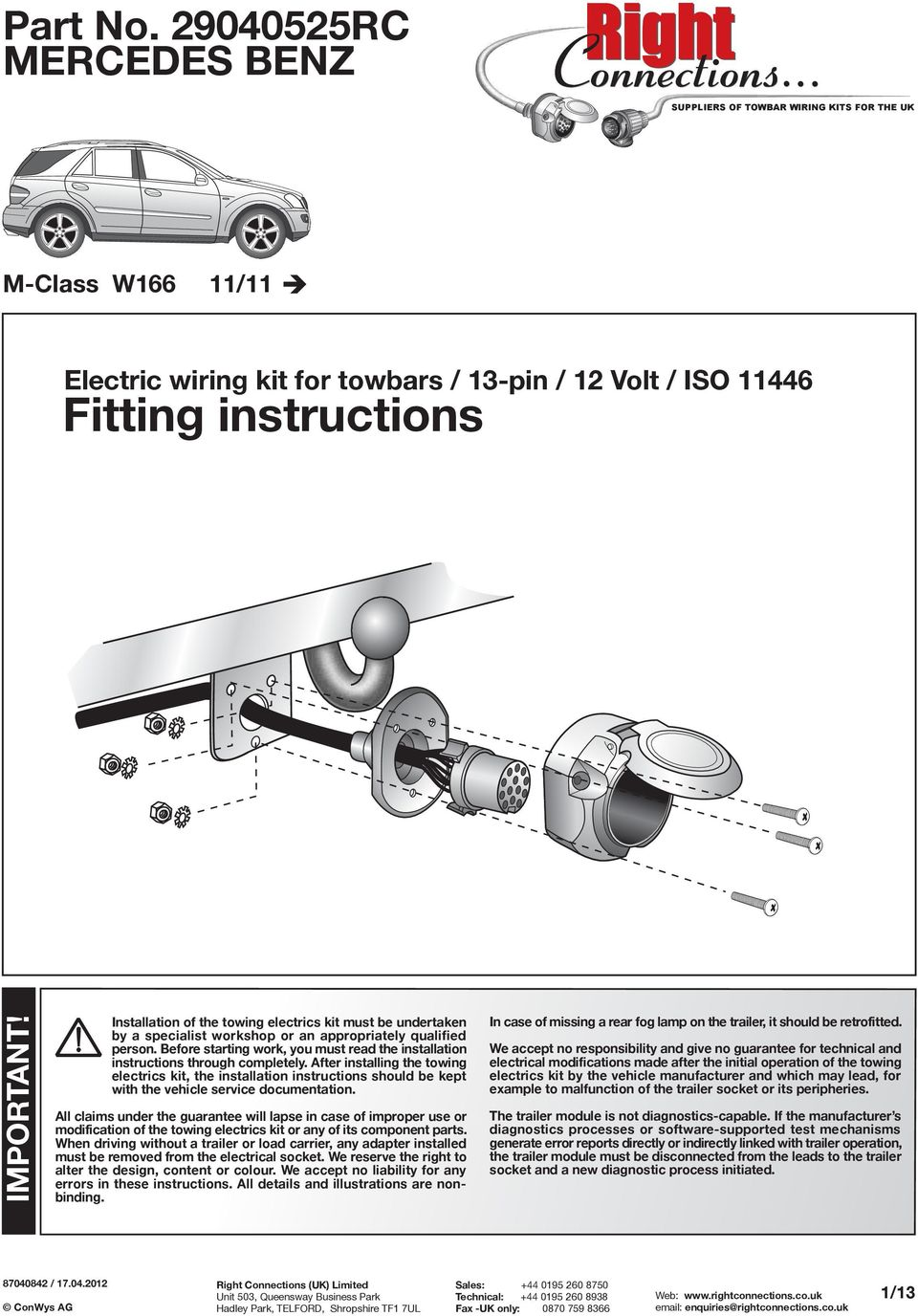 Towbar for VW Caddy III 2004 on models with Full Electrics Kit
