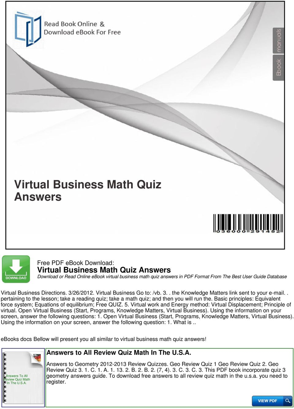virtual business math quiz answers pdf