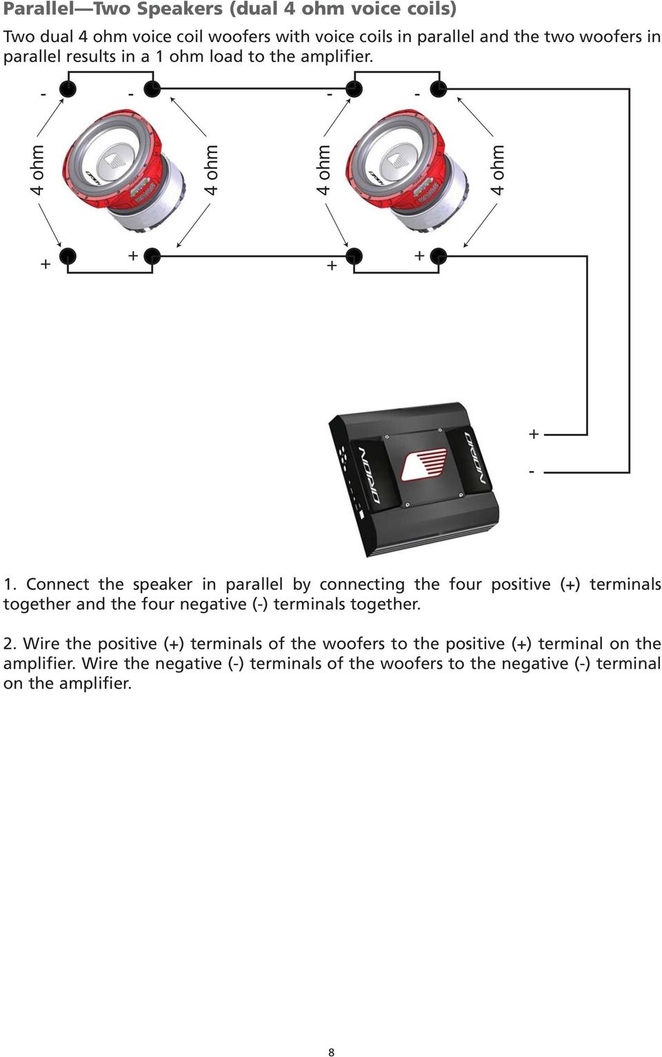 Subwoofer Hcca Pdf How To Wire Speakers Together Connect The Speaker In Parallel By Connecting Four Positive Terminals And