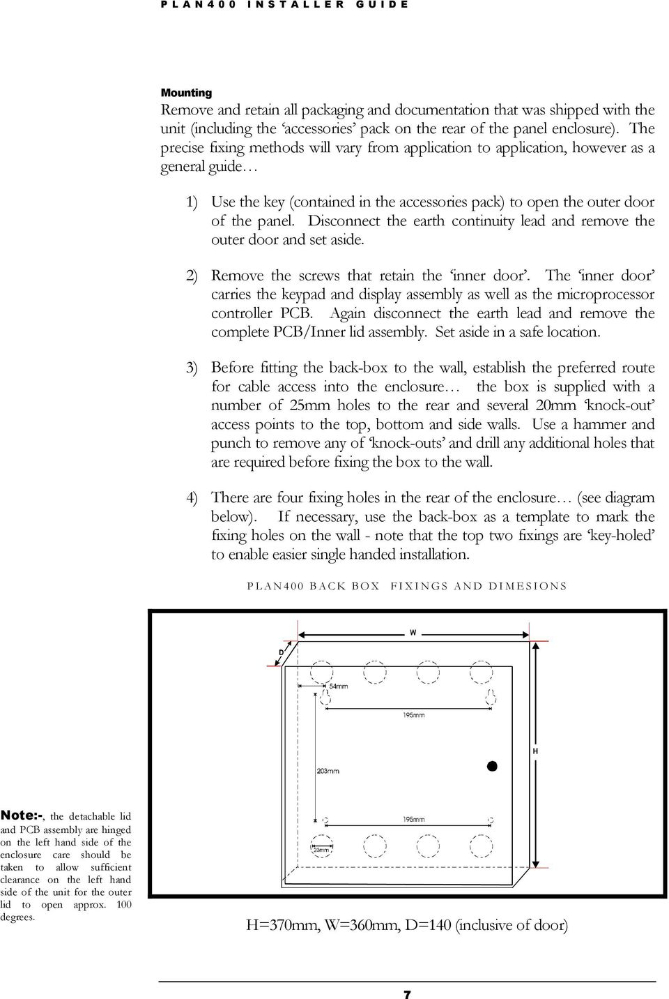 PLAN400 V6 6X  Networked Access Control Panel  Installation Guide - PDF