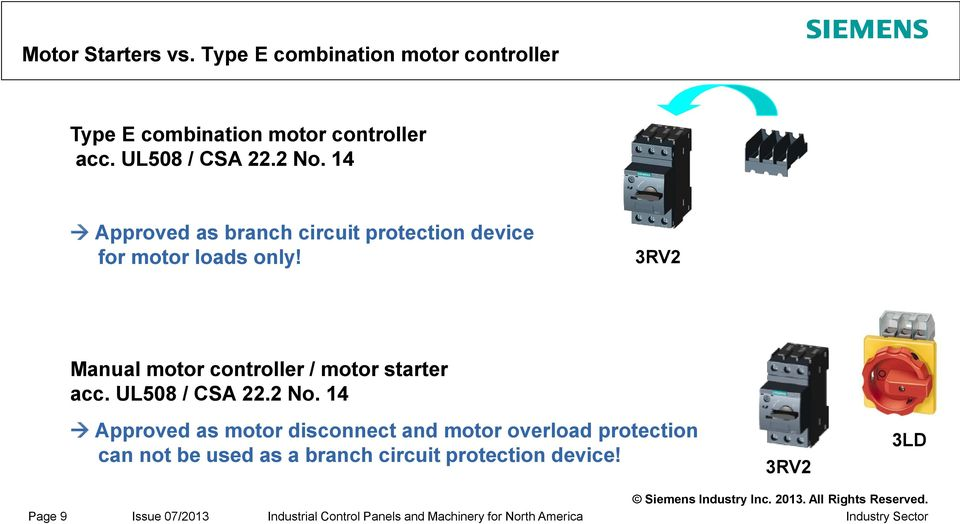 UL guidelines, chapter 6 2 / 6 3 Motor Branch Circuits acc