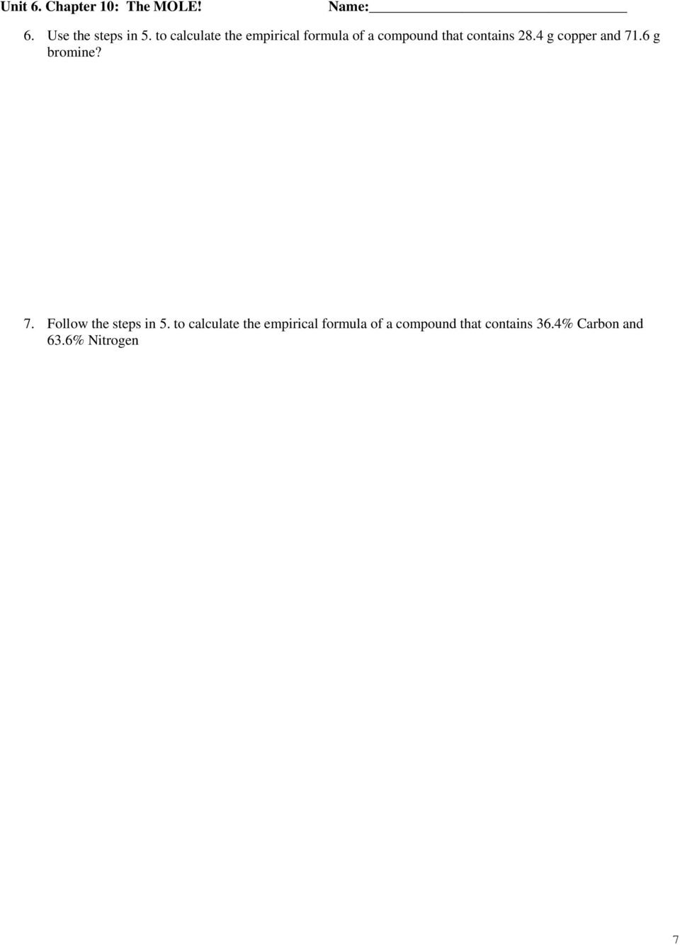 Unit 6. Chapter 10: The MOLE! Date In Class Homework. % Composition ...