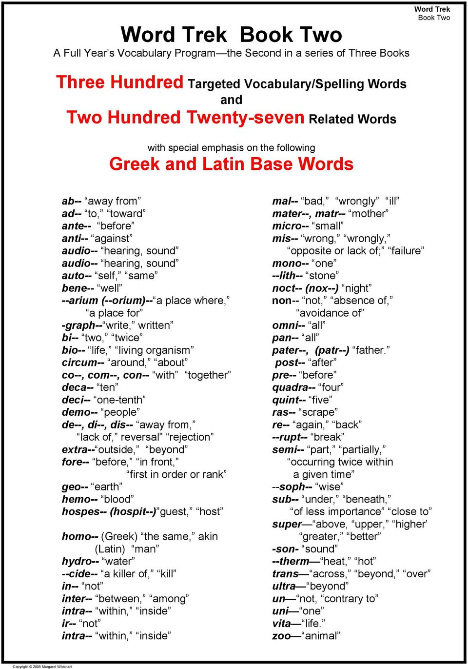 Word Trek  Free Sample Lessons, Tests, Keys, and Reference