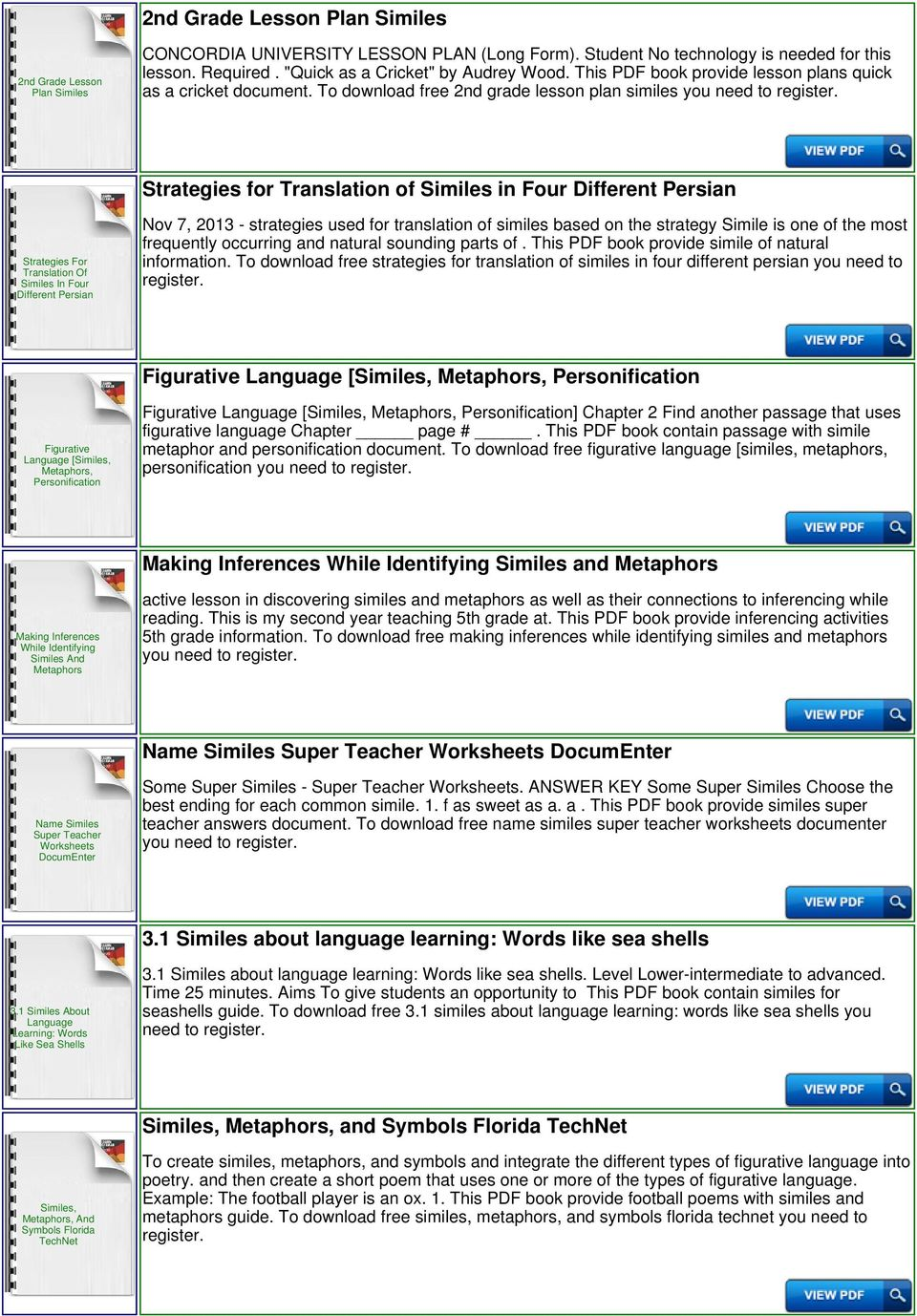 To Download Free 2nd Grade Lesson Plan Similes You Strategies For Translation Of In Four Different