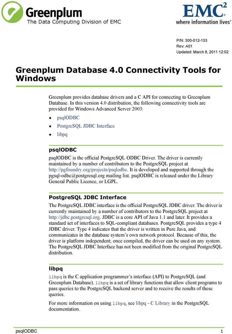 Greenplum Database 4 0 Connectivity Tools for Windows - PDF
