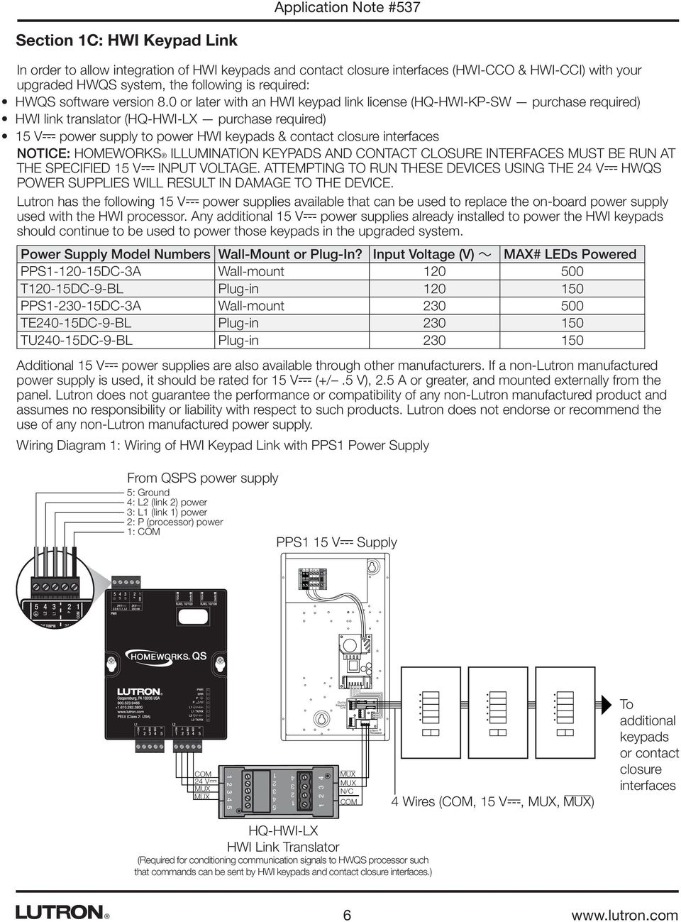 Application Note 537 Revision D August 2015 Solutions For Upgrading Lutron Wiring Diagram Uk 0 Or Later With An Hwi Keypad Link License Hq Kp