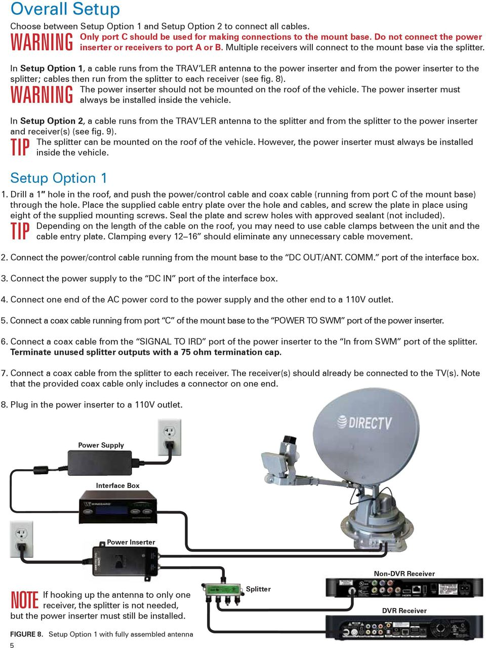 WARNING In Setup Option 1, a cable runs from the TRAV LER antenna to the
