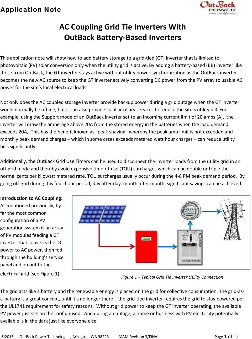 Ac Coupling Grid Tie Inverters With Outback Battery Based Fig 1 Basic Accoupling Circuit By Adding A Bb Inverter Like Those From The Gt