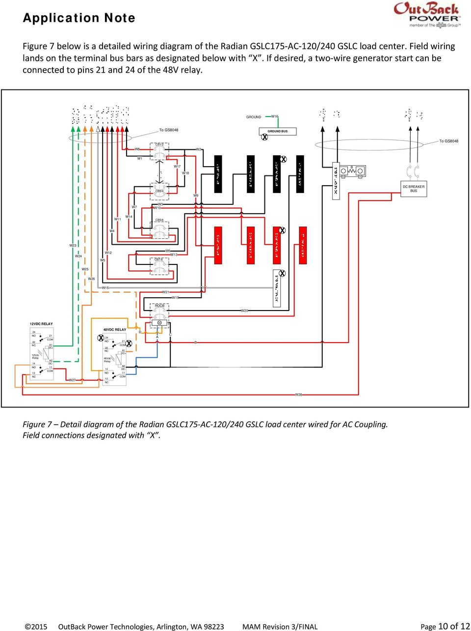 Ac Coupling Grid Tie Inverters With Outback Battery Based 10 Wire Generator Wiring Diagram Ground W16 W8 To Gs8048 Cb1 2 W2 Bus W1 W17 B