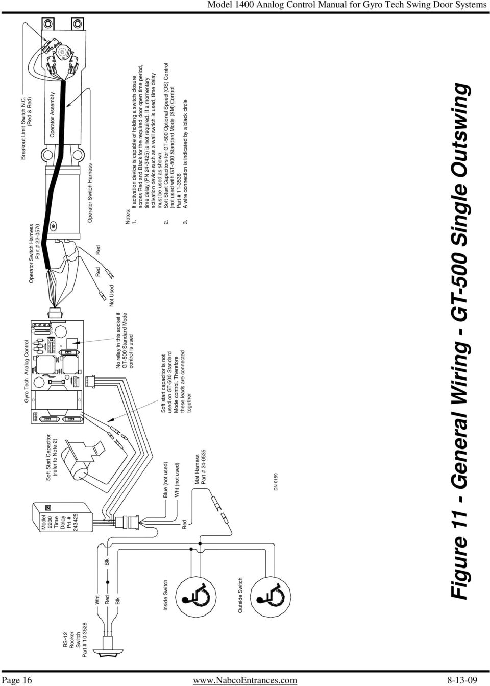 Analog Control Wiring Adjustment Manual For Gyro Tech Swing Door In Contact Series Wire Diagram If Activation Device Is Capable Of Holding A Switch Closure Across And Black The Required