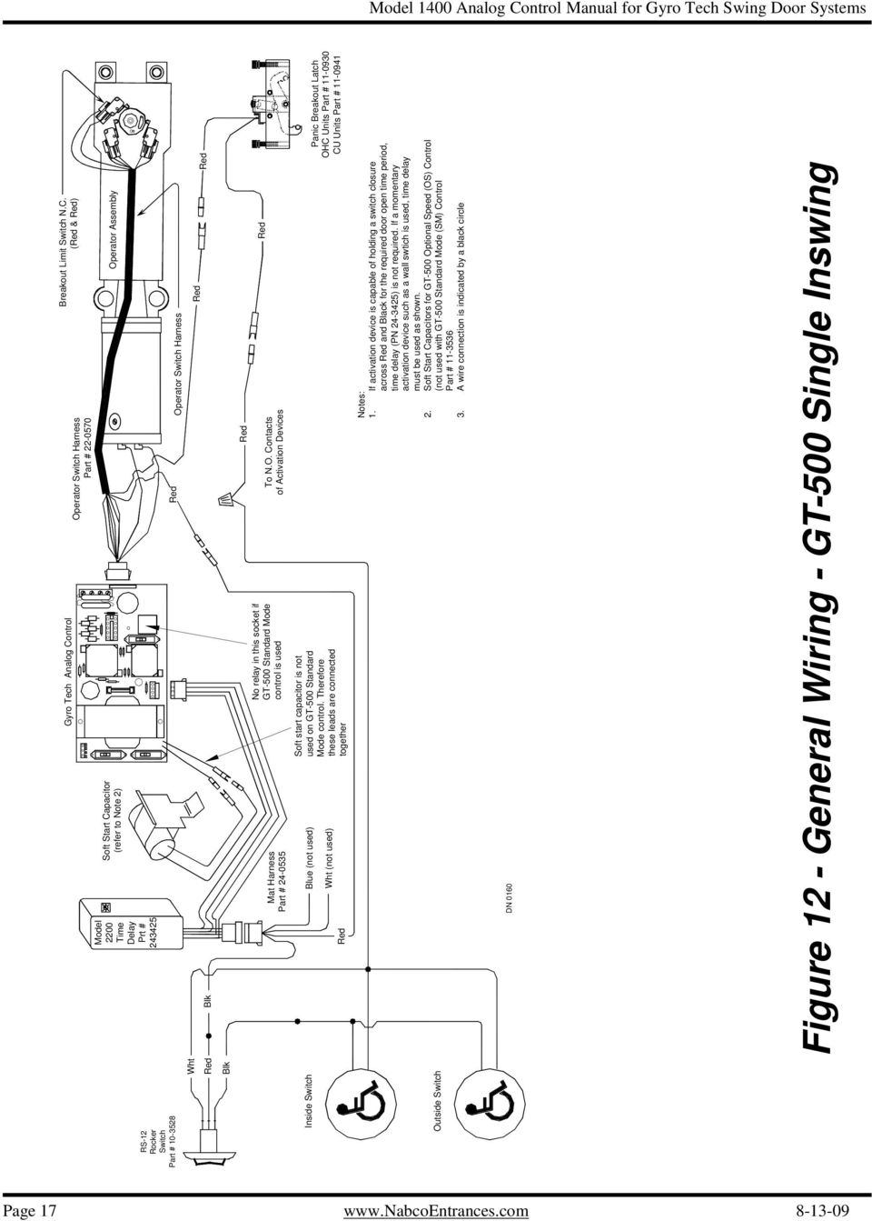 Analog Control Wiring Adjustment Manual For Gyro Tech Swing Door 70 5600 Car Wire Harness Diagram Therefore These Leads Are Connected Together Panic Breakout Latch Ohc Units Part 11 0930