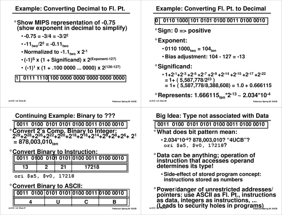 Review 1/2  CS61C Characters and Floating Point  Lecture 8