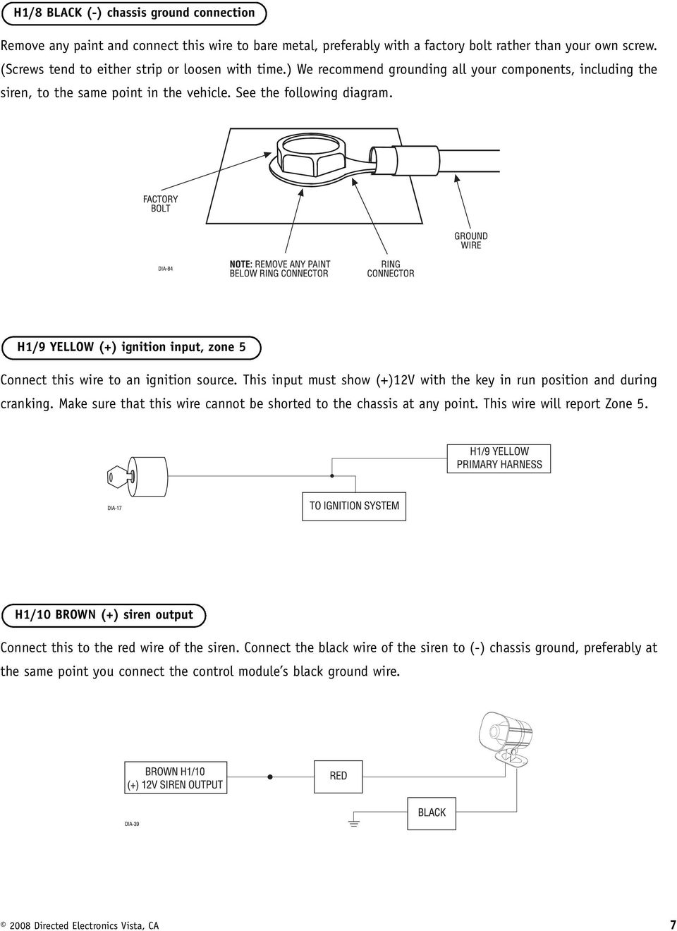 Model 3100l Installation Guide Pdf Avital 3100 Car Alarm Wiring Diagram H1 9 Yellow Ignition Input Zone 5 Connect This Wire To