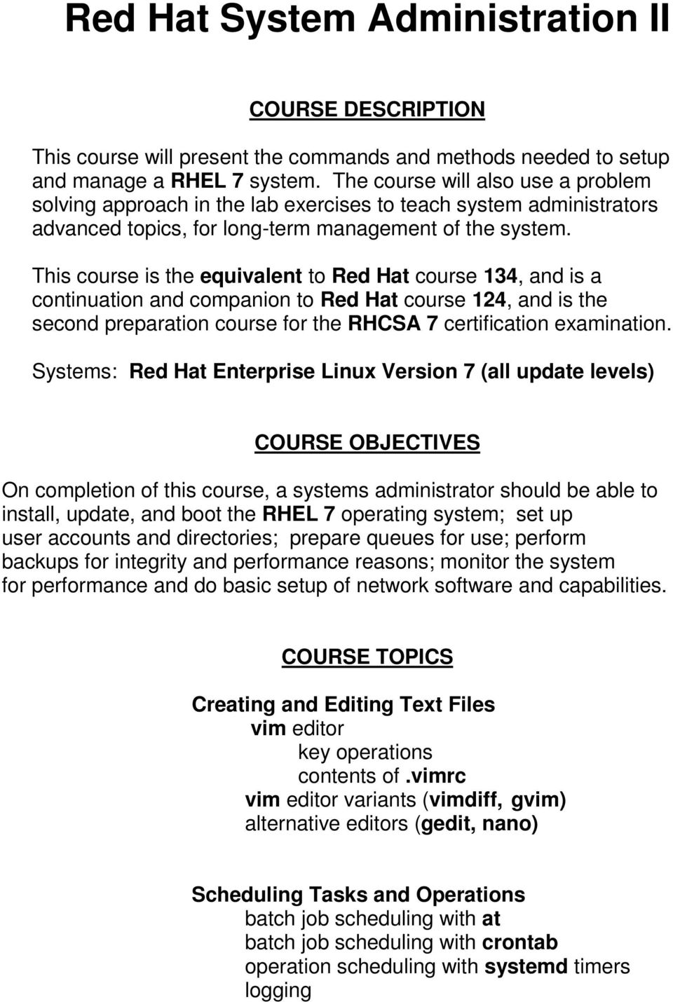 Red Hat Enterprise Linux (RHEL 7) Courses - PDF