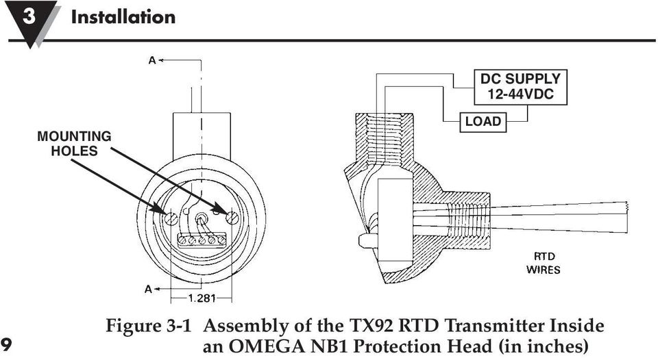 assembly of the tx92 rtd transmitter  15 installation 3 caution