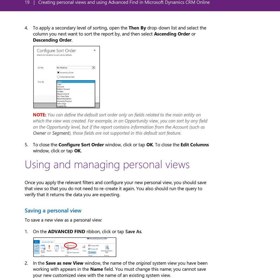 Creating personal views and using Advanced Find in Microsoft
