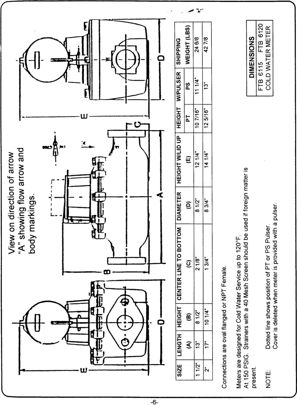 Irldustrial Positive Displacement Cold Water Meters Ftb6205 Shown Meter Diagram 14 L 4 12 5116 13 Connections Are Oval Flanged O Npt Female