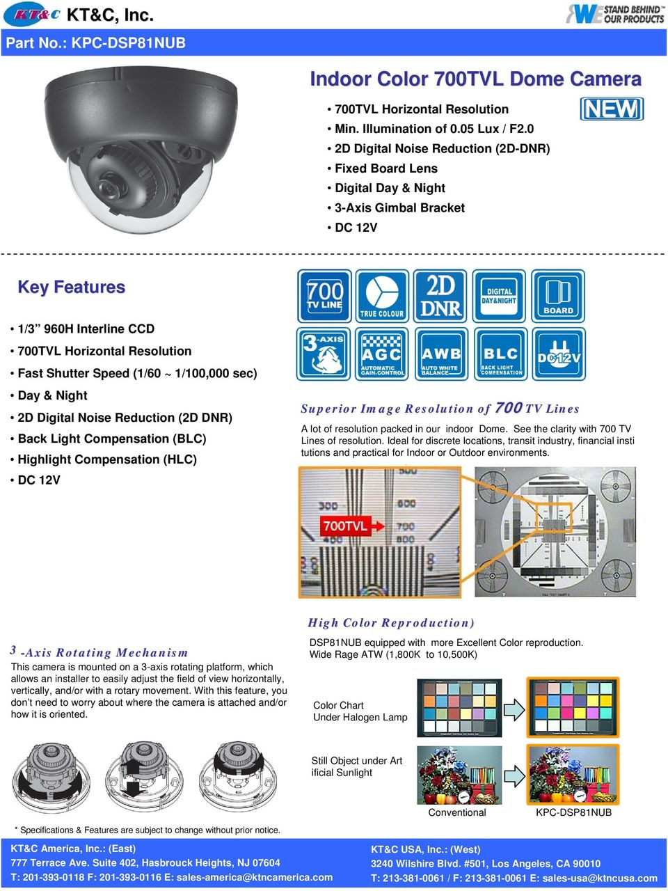 Collection of 700TVL Camera Specifications - PDF