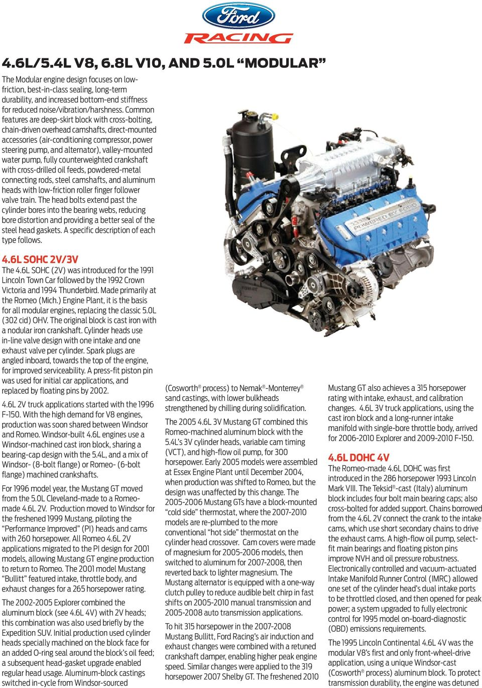 Four Cylinder Engine Section Pdf Parts Diagram Ford 5 4l V8 Common Features Are Deep Skirt Block With Cross Bolting Chain Driven Overhead 6 46l 54l