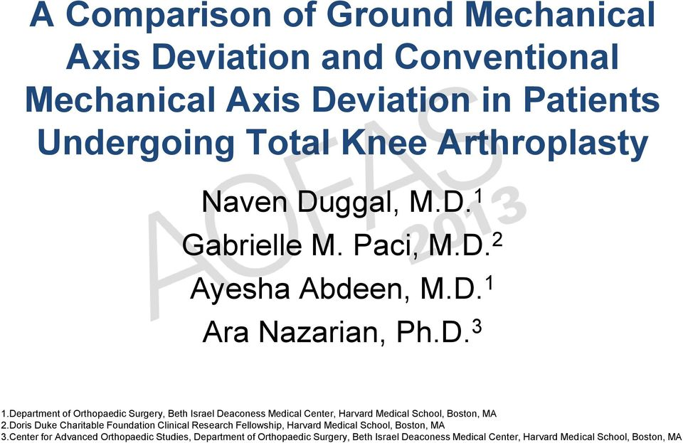 A Comparison of Ground Mechanical Axis Deviation and