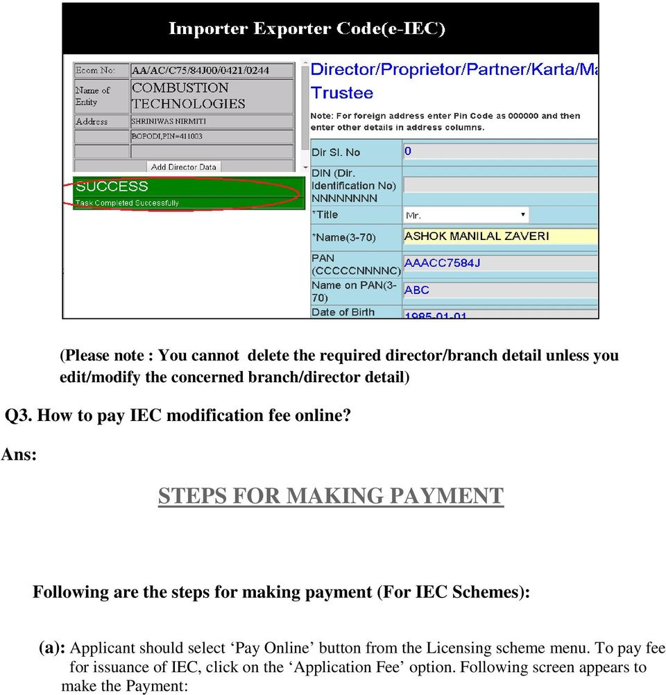 Online e-iec Help. 1 What are the various options in online IEC ...