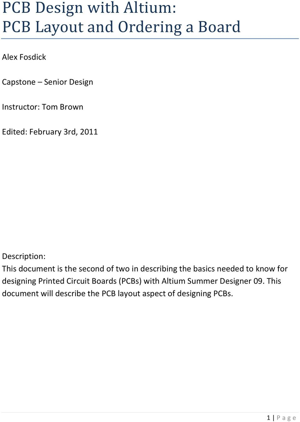 PCB Design with Altium: PCB Layout and Ordering a Board - PDF