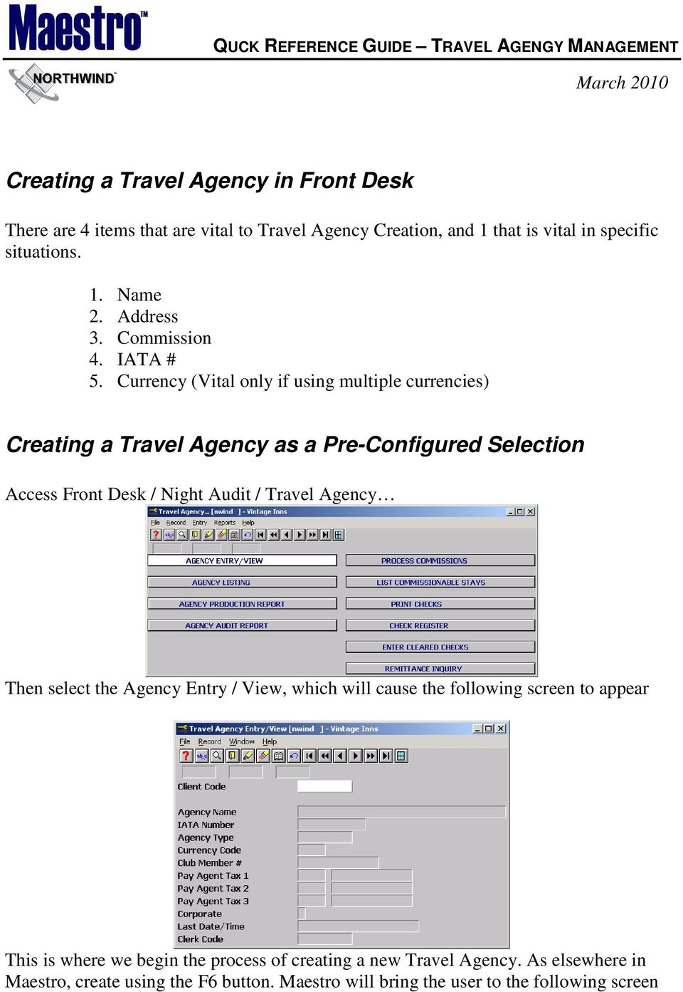 Configuring Maestro for Travel Agency Commission Processing