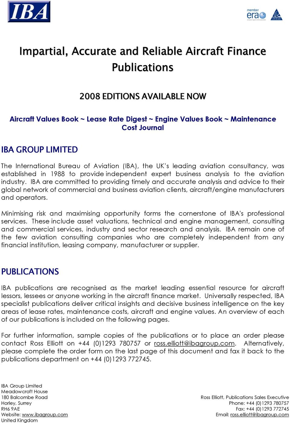 Aircraft Values Book ~ Lease Rate Digest ~ Engine Values