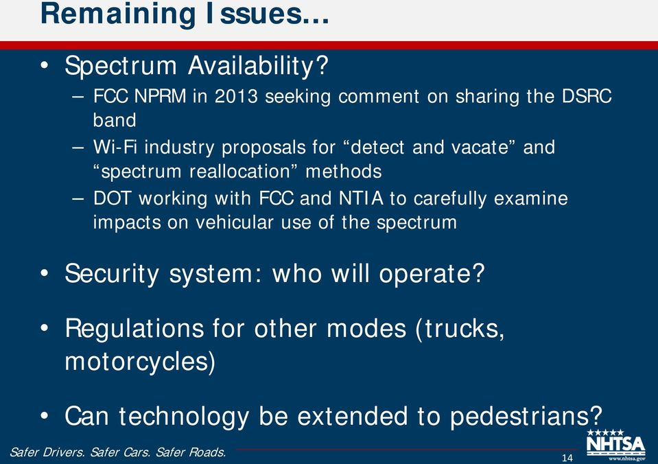 vacate and spectrum reallocation methods DOT working with FCC and NTIA to carefully examine impacts