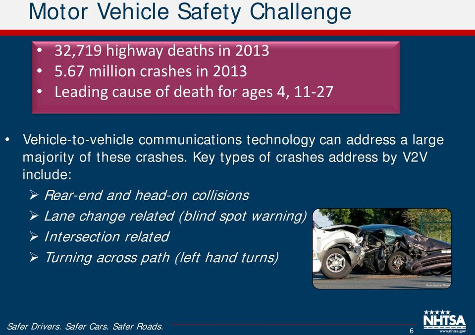 communications technology can address a large majority of these crashes.