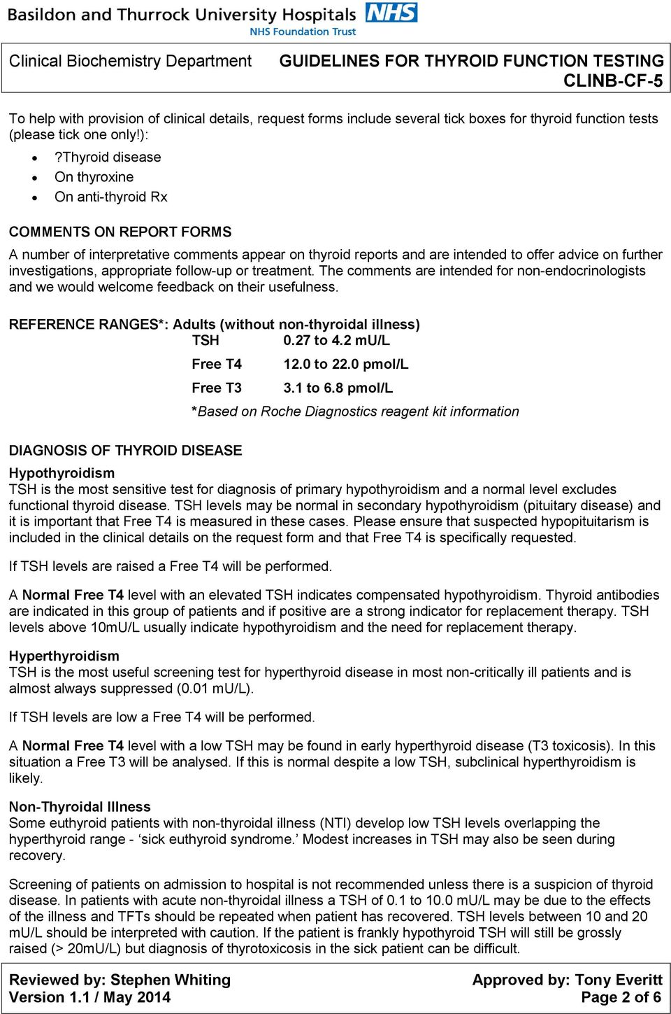 CLINB-CF-5 GUIDELINES FOR THYROID FUNCTION TESTING  Version 1 1
