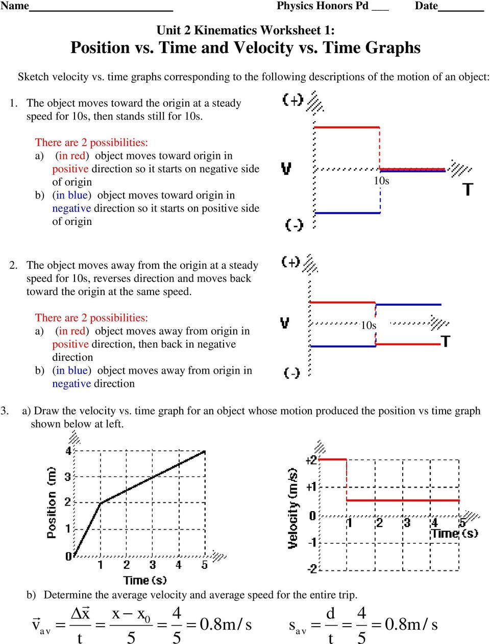 Unit 2 Kinematics Worksheet 1 Position Vs Time And Velocity Vs