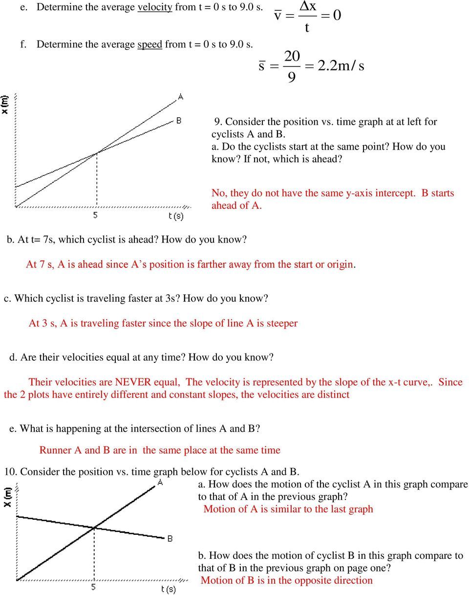 Unit 2 Kinematics Worksheet 1: Position Vs. Time And Velocity Vs. Time  Graphs - PDF Free Download