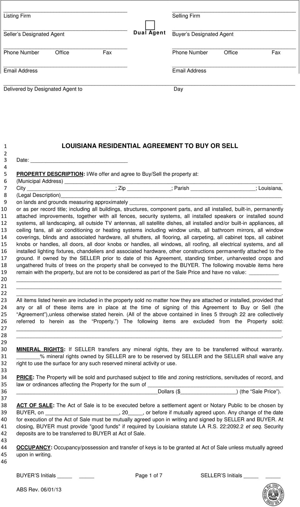 Louisiana Residential Agreement To Buy Or Sell Pdf