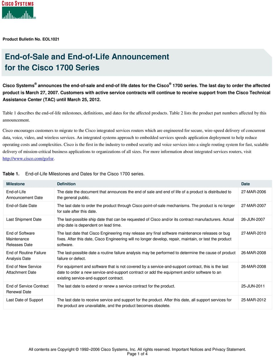 End-of-Sale and End-of-Life Announcement for the Cisco 1700 Series - PDF