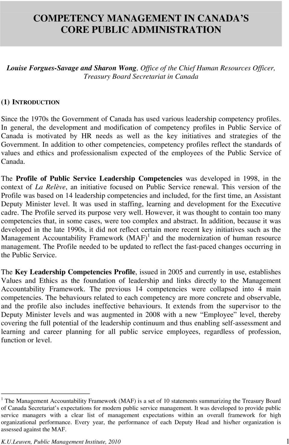 COMPETENCY MANAGEMENT IN CANADA S CORE PUBLIC ADMINISTRATION