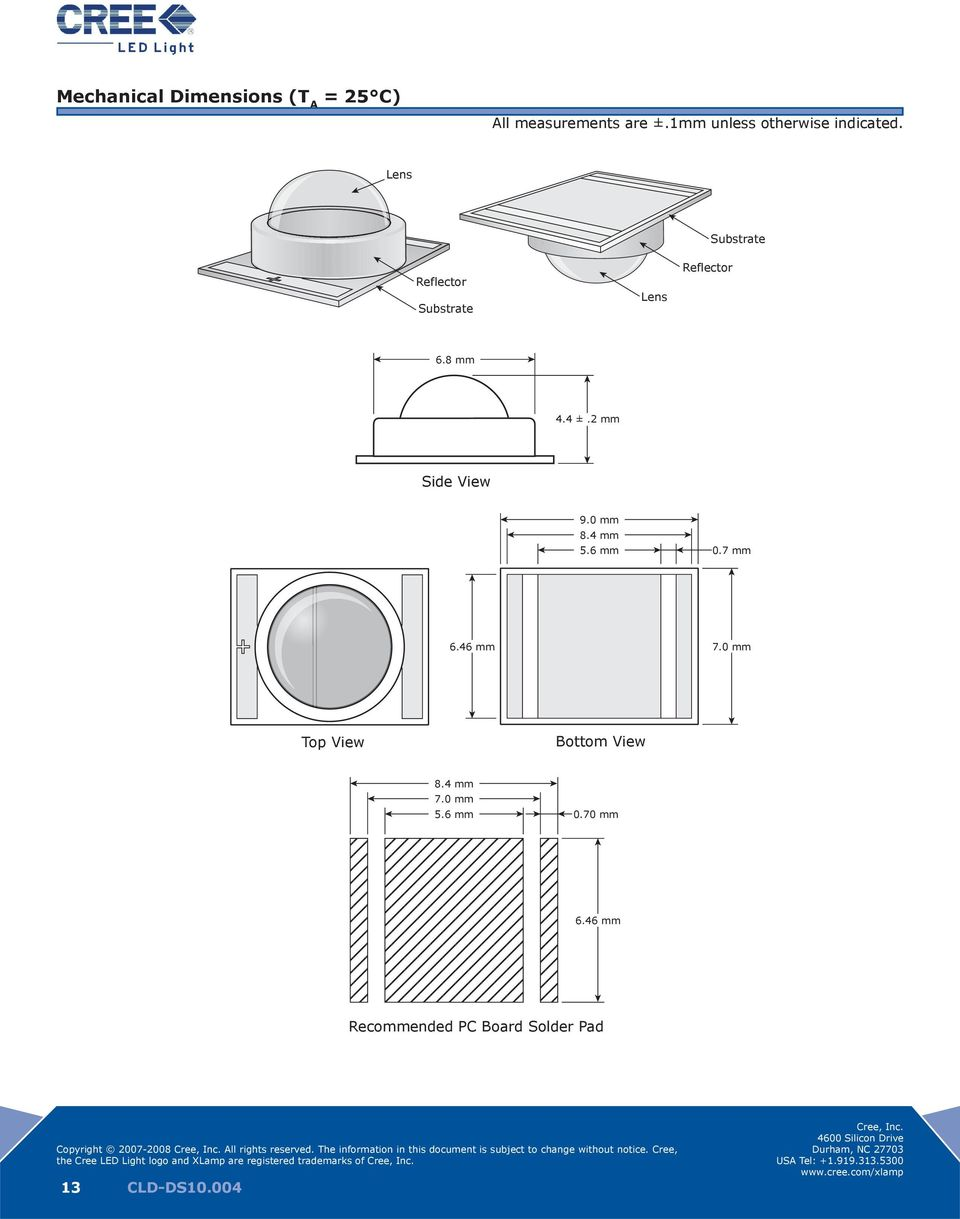 Lens Substrate Reflector Substrate Lens Reflector 6.8 mm 4.4 ±.