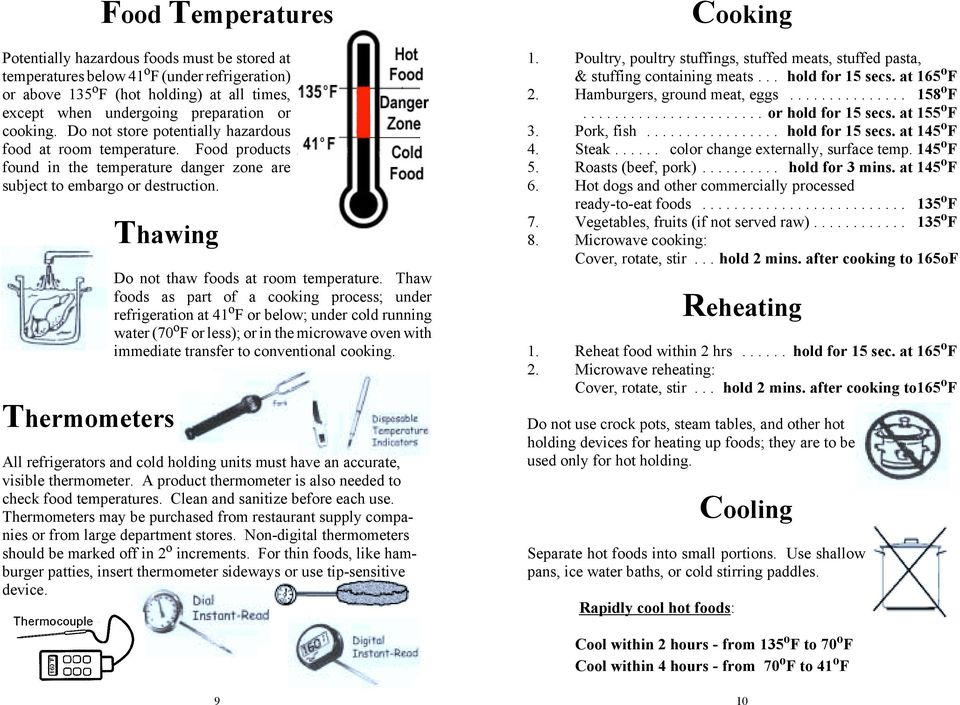 Thawing Thermometers Do not thaw foods at room temperature.