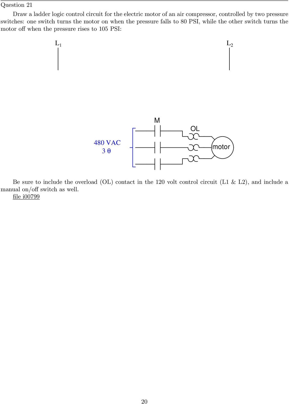 Process Switches And Relay Circuits Pdf Door Knob Touch Alarm Circuit Controlcircuit Diagram Turns The Motor Off When Pressure Rises To 105 Psi M Ol 480 Vac