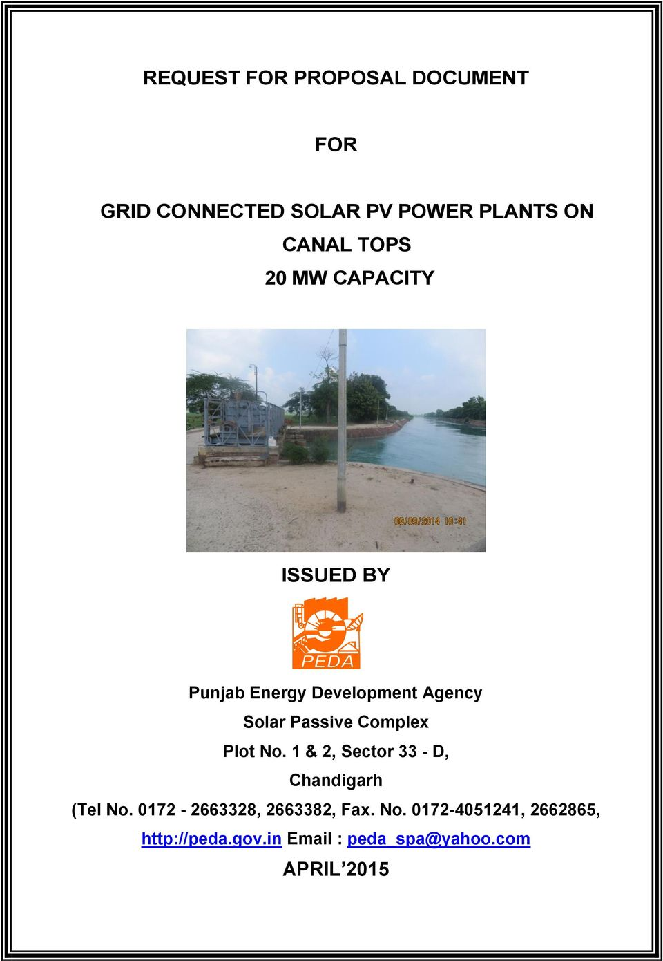 REQUEST FOR PROPOSAL DOCUMENT FOR GRID CONNECTED SOLAR PV POWER
