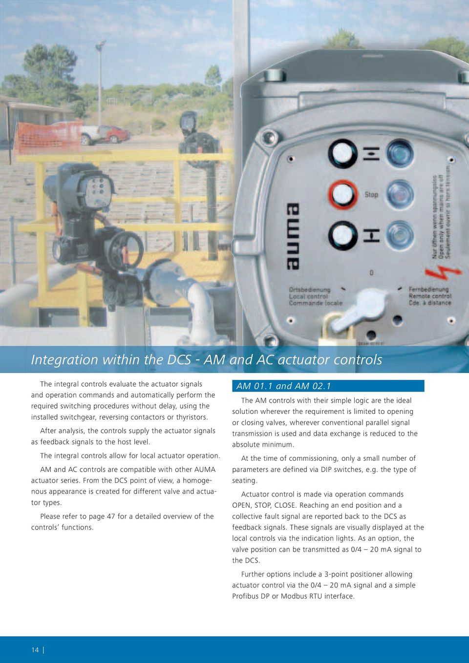Electric Multi Turn Actuators With Integral Controls Sa 072 162 Auma Valve Wiring Diagram The Allow For Local Actuator Operation Am And Ac Are Compatible