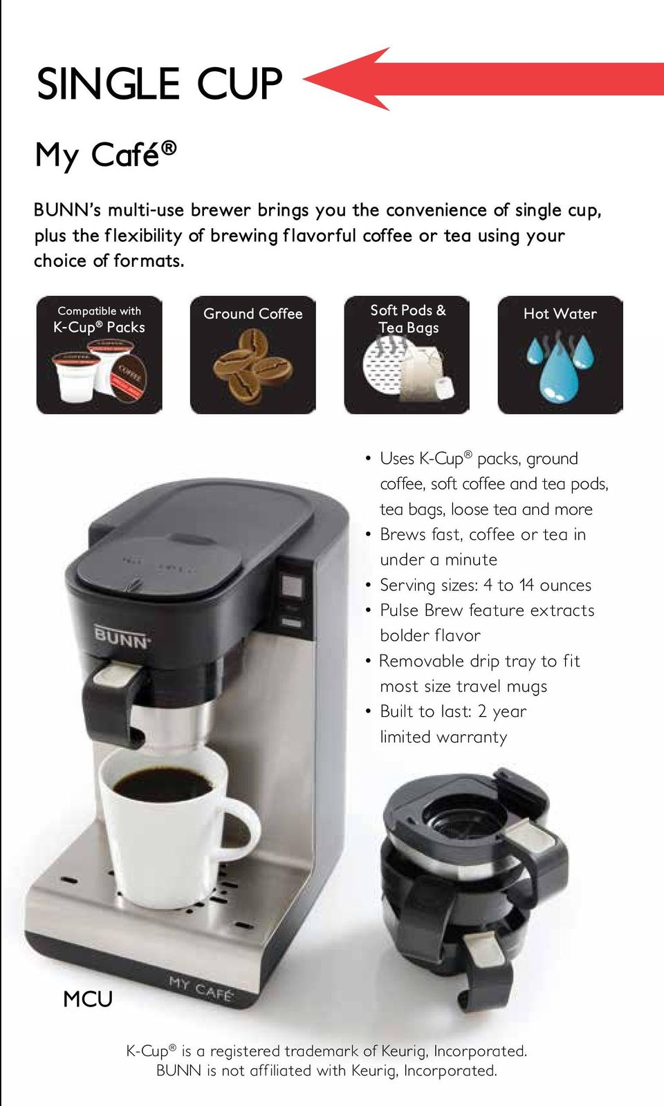 Superior Quality Temperature Bunn Machines Brew At A Consistent Bxb Wiring Diagram Compatible With K Cup Packs Ground Coffee Soft Pods Tea Bags Hot Water Uses