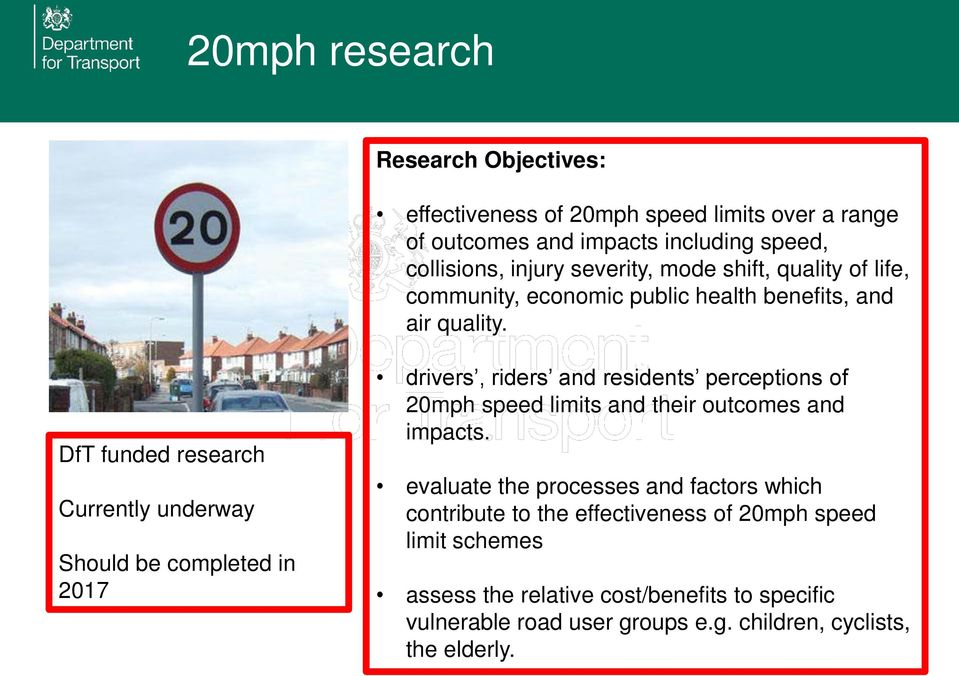 drivers, riders and residents perceptions of 20mph speed limits and their outcomes and impacts.