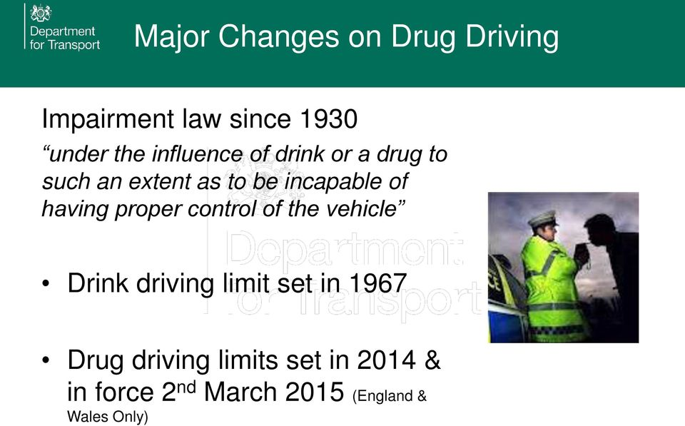 having proper control of the vehicle Drink driving limit set in 1967