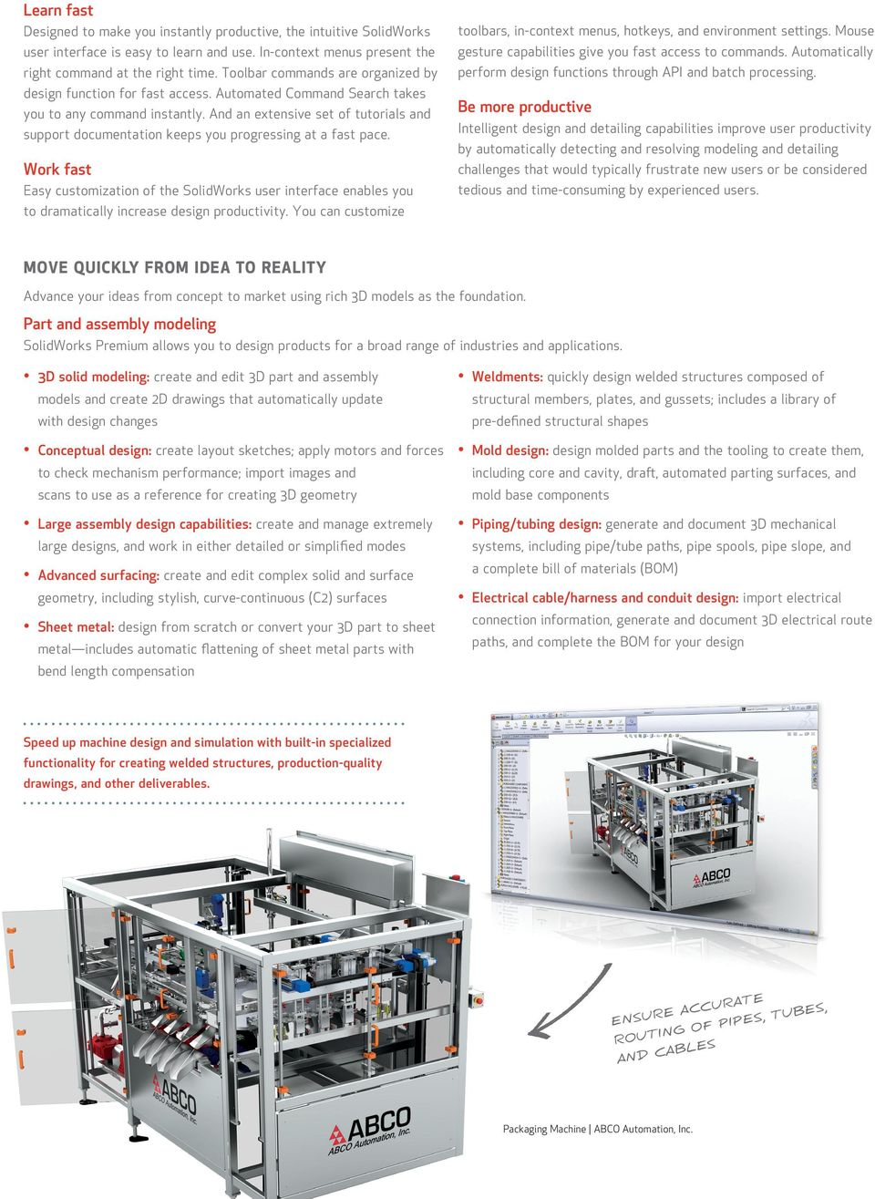 SOLIDWORKS PREMIUM  3D design simplified  u CREATE AND COMMUNICATE