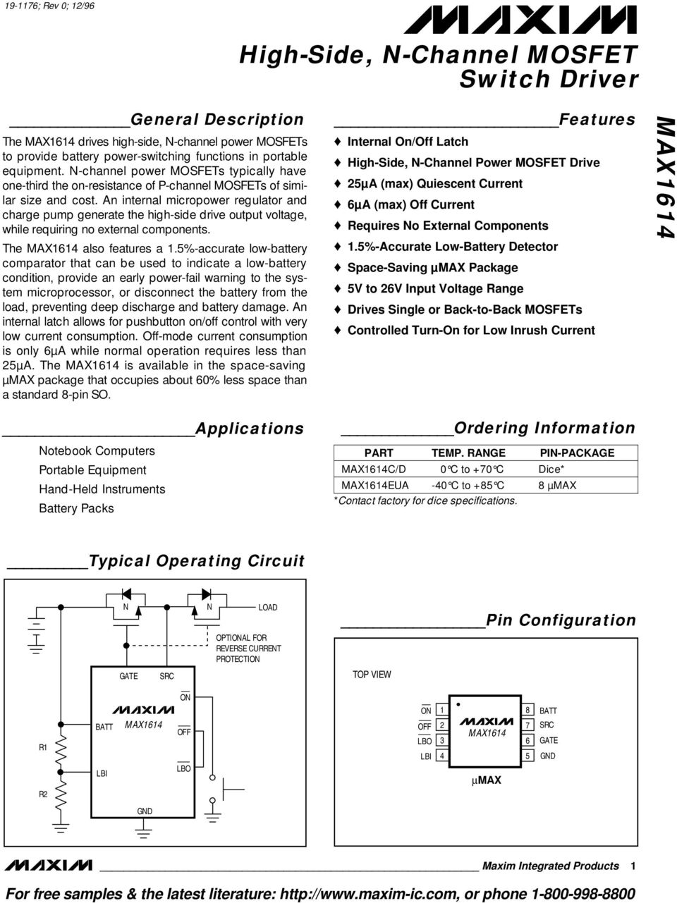 High Side N Channel Mosfet Switch Driver Max1614 General Application Schematic For Voltage Regulators With An Internal Micropower Regulator And Charge Pump Generate The Drive Output
