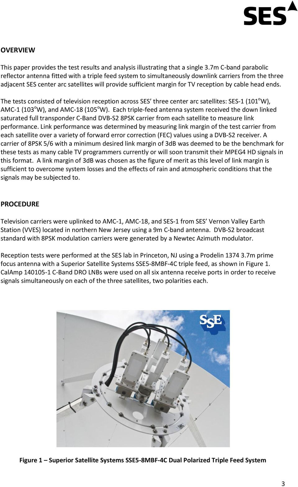Triple Feed C Band Antenna System Test And Analysis For Use In Three 8 Psk Block Diagram Reception By Cable Head Ends The Tests Consisted Of Television Across Ses Center
