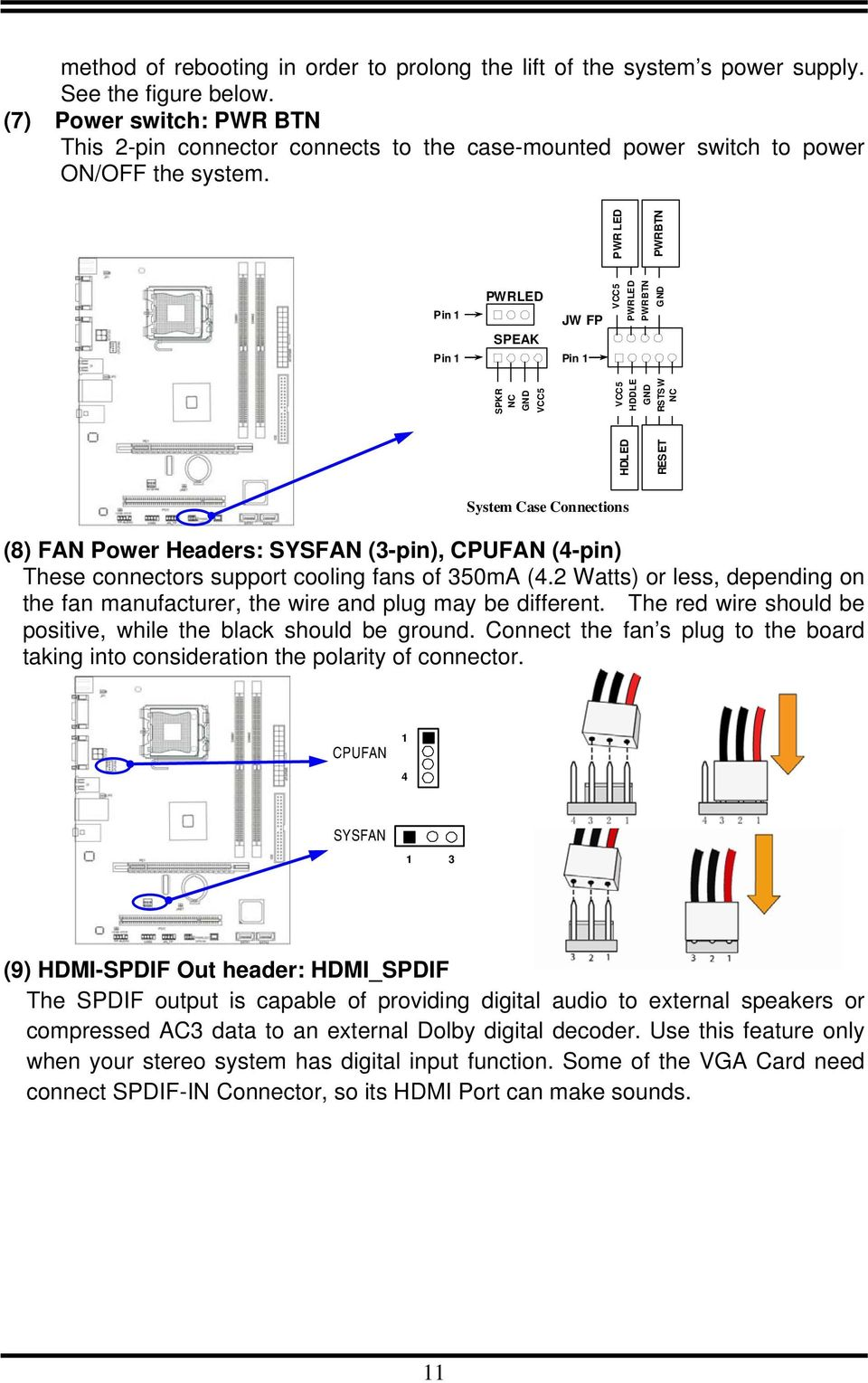 Users Manual Of Intel G31 Express Chipset Ich7 4 Pin Computer Fan Wire Diagram 1 Pwrled Speak Jw Fp Hdled Reset Spkr Nc Gnd Vcc5