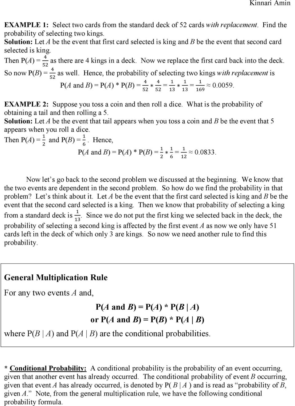 Conditional Probability And General Multiplication Rule Pdf