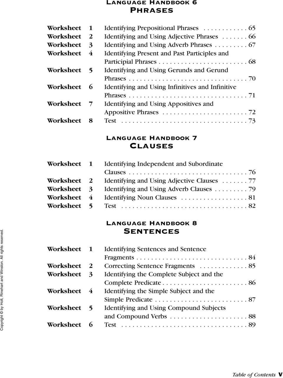 Language Handbook Worksheets Pdf